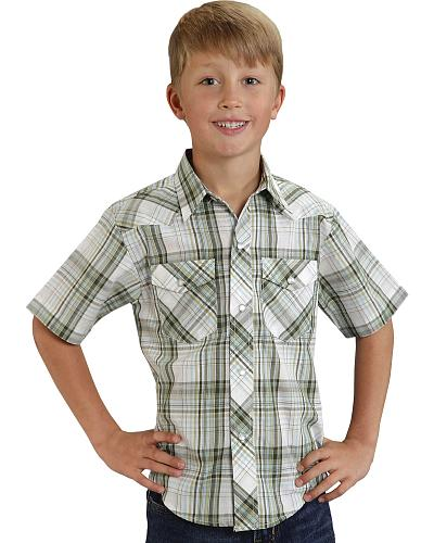 Roper Boys Short Sleeve Plaid Western Shirt Western & Country 01-031-0101-0283 GR