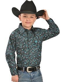 Cowboy Hardware Boys' Black Paisley Western Shirt