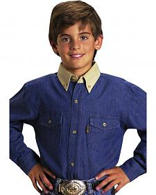Roper Boys' Denim Twill Long Sleeve Western Shirt