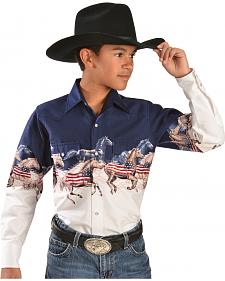 Cumberland Outfitters Boy's American Horse Border Western Shirt
