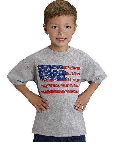 Roper Boys Distressed American Flag Print T-Shirt Western & Country 03-376-0050-0502 GY