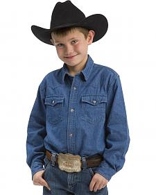 Roper Boys' Long Sleeve Denim Western Snap Shirt