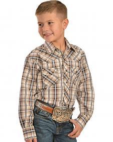 Red Ranch Boys' Brown Plaid Western Shirt