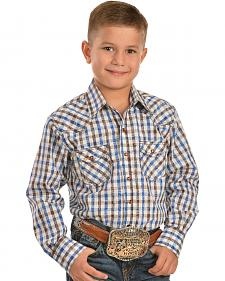Red Ranch Boys' Plaid with Paisley Western Shirt