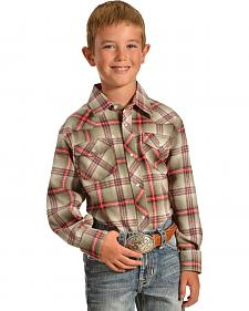 Wrangler Boys' Assorted Plaid Western Shirt