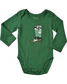 Wrangler Infant Boys' Long Sleeve Green Cowboy Boot Bodysuit