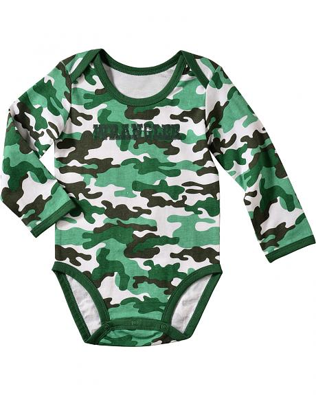 Wrangler Infant Boys' Long Sleeve Green Camo Bodysuit