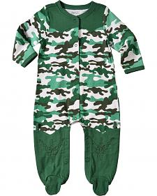 Wrangler Infant Boys' Long Sleeve Green Camo Footed Romper