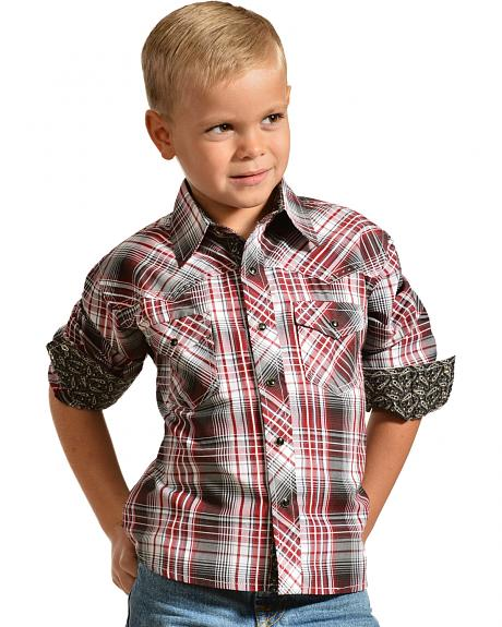 Red Ranch Boys' Long Sleeve Plaid Contrast Shirt