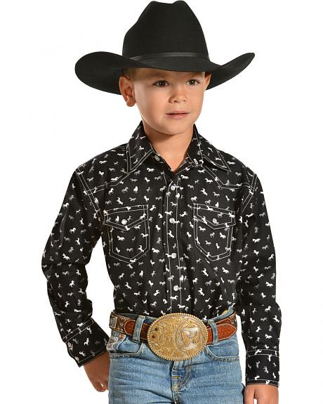 Red Ranch Boys' Horse Print Shirt with White Stitching