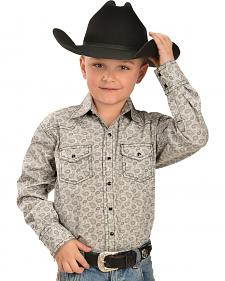Red Ranch Boys' Print Contrast Stitch Western Shirt