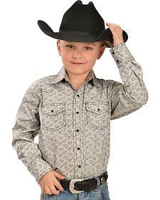 Red Ranch Boys' Print Contrast Stitch Western Shirt