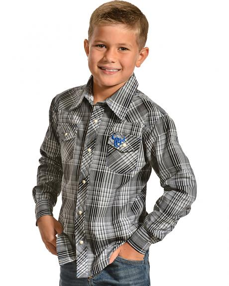 Red Ranch Boys' Plaid Embroidered Skull Western Shirt