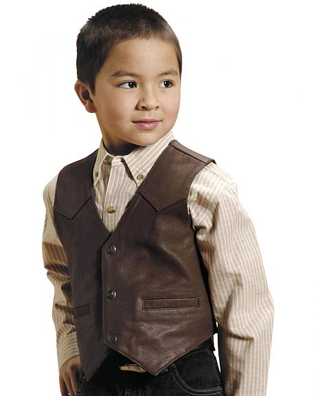 Roper Boys' Western Nappa Leather Vest