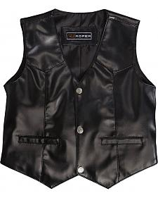 Roper Boys' Faux Black Suede Basic Vest