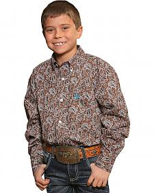 Cinch Boys' Brown Paisley Print Western Shirt