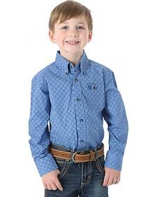 Wrangler Boys' George Strait Blue Print Shirt