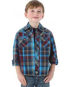 Wrangler Rock 47 Boys' Plaid Shirt with Embroidery