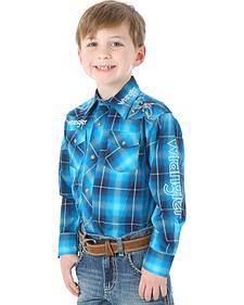 Wrangler Boys' Blue Plaid Logo Western Shirt