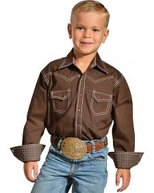 Red Ranch Boys' Brown Contrast Stitch Western Shirt