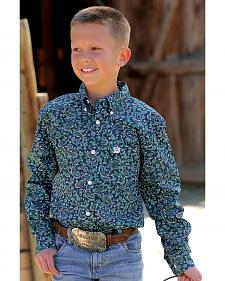 Cinch Boys' Navy Paisley Open Pocket Shirt with Logo Embroidery