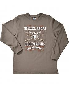Cowboy Hardware Rifles, Racks and Deer Tracks Long Sleeve T-Shirt