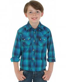 Wrangler Retro Boys' Blue Plaid Western Shirt
