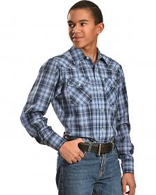 Ely Cattleman Boys' Black & Gray Lurex Plaid Shirt