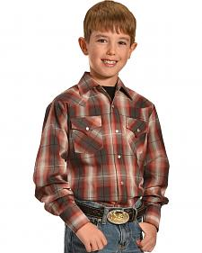 Ely Cattleman Boys' Dobby Plaid Western Shirts