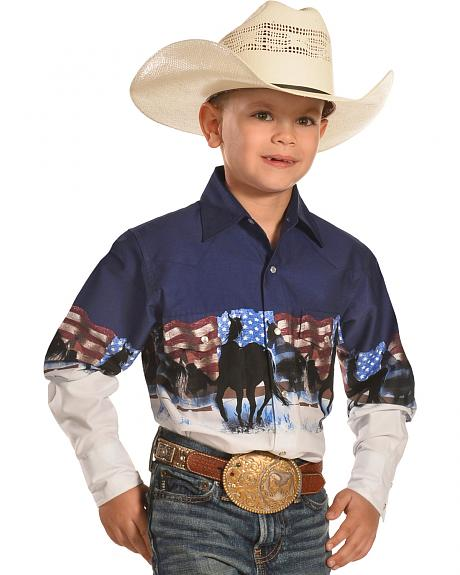 Cumberland Outfitters Boys' American Flag & Horse Stampede Shirt
