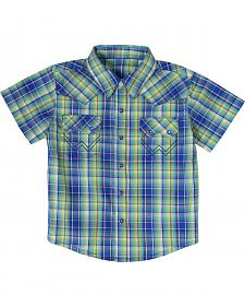 Wrangler Boys' Turquoise Plaid Short Sleeve Western Shirt