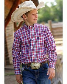 Cinch Boys' Long Sleeve Plaid Shirt