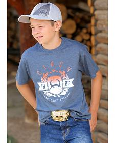 Cinch Boys' Short Sleeve Blue Logo T-Shirt