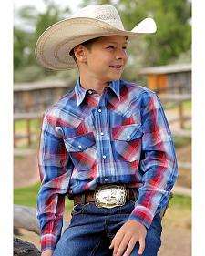 Cinch Boys' Long Sleeve Snap Plaid Shirt