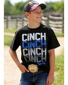 Cinch Boys' Black Logo Short Sleeve T-Shirt