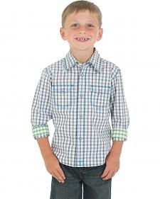 Wrangler 20X Boys' Grey and White Check Western Shirt