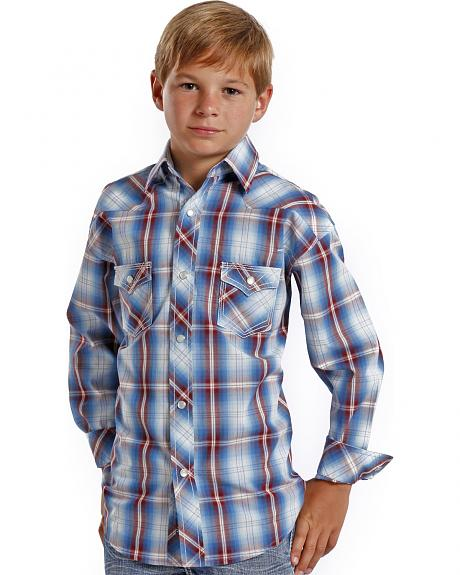 Rock and Roll Cowboy Boys' Ombre Plaid Western Shirt