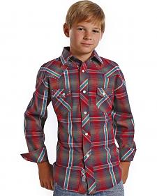 Rock and Roll Cowboy Boys' Ombre Red Plaid Western Shirt