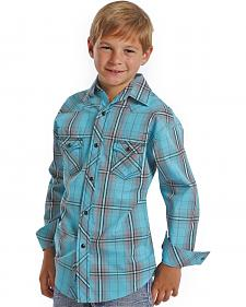 Rock and Roll Cowboy Turquoise Satin Plaid Boys' Western Shirt