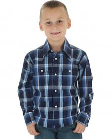 Wrangler Boys' Navy & Black Plaid Wrinkle Resist Western Shirt
