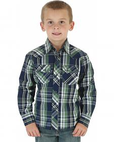 Wrangler Boys' Navy & Green Plaid Western Fashion Snap Shirt