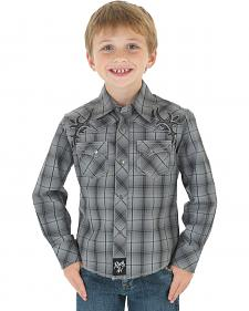 Wrangler Rock 47 Boys' Gray Plaid Snap Shirt