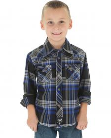 Wrangler Rock 47 Boys' Black Plaid Snap Shirt