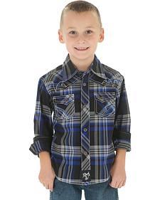 Wrangler Rock 47 Boys' Black Plaid Snap Shirt