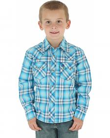 Wrangler Boy's Blue Plaid Western Jean Shirt