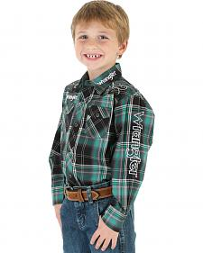 Wrangler Boys' Green Plaid Logo Snap Shirt