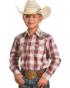 Crazy Cowboy Boys' Red Plaid Embroidered Western Snap Shirt