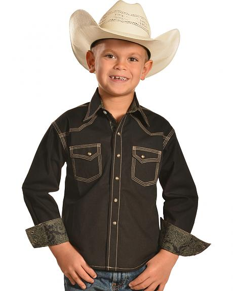 Crazy Cowboy Boys' Solid Black Contrast Western Shirt