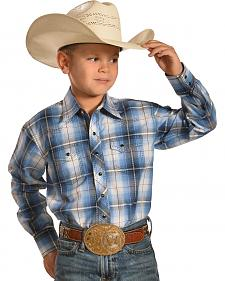 Crazy Cowboy Boys' Blue Plaid Dobby Western Snap Shirt