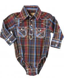 Crazy Cowboy Boys' Infant Plaid Snap Bodysuit